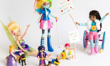 A photograph featuring several popular toy brands modified to look like they have various impairments