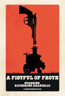 a western poster-style image of a gun pointing down at a cowboy in a wheelchair against a red background