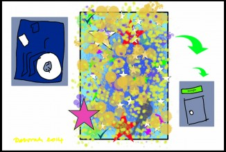 Three images with one frame; largest in the centre.