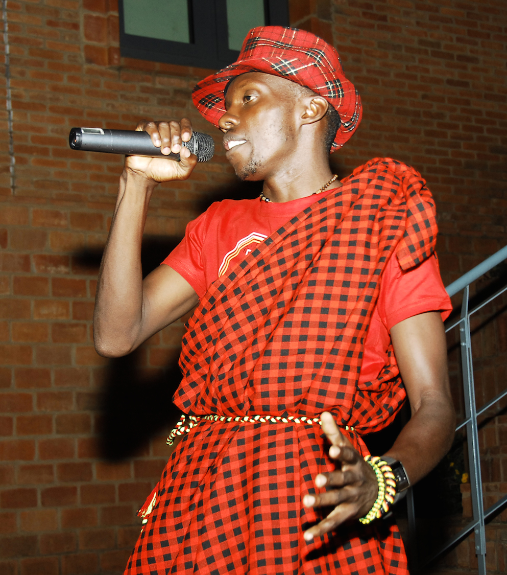 hip hop artist Ronnie Ronnie wears a red and black costume