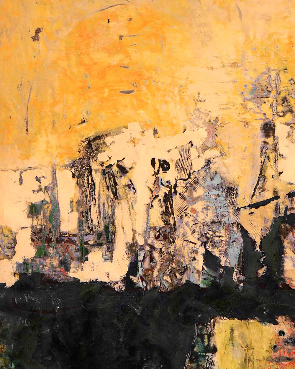 an abstract painting layered in yellows and blacks